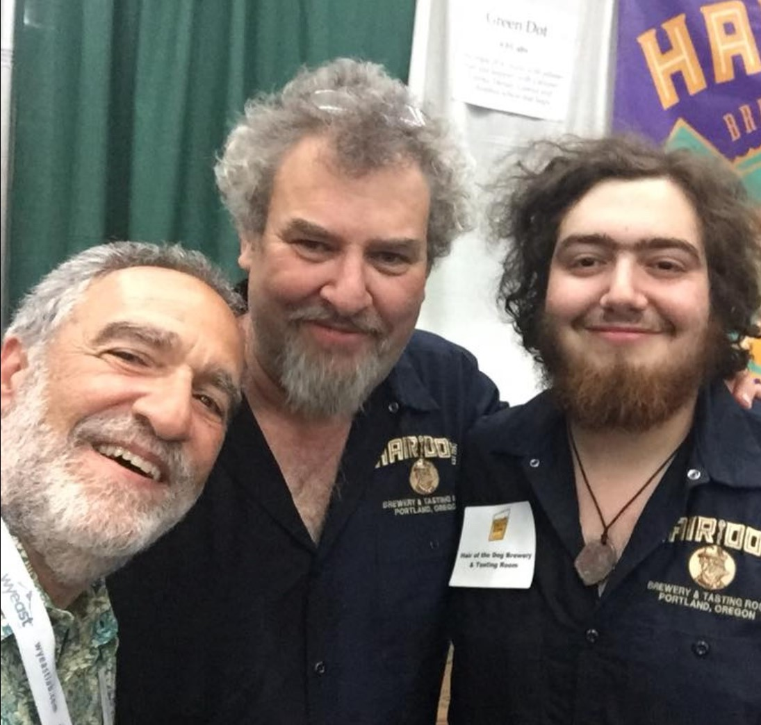 Alan, center, with his son and Charlie Papazian at Homebrew Con (Credit:   Hair of the Dog  )