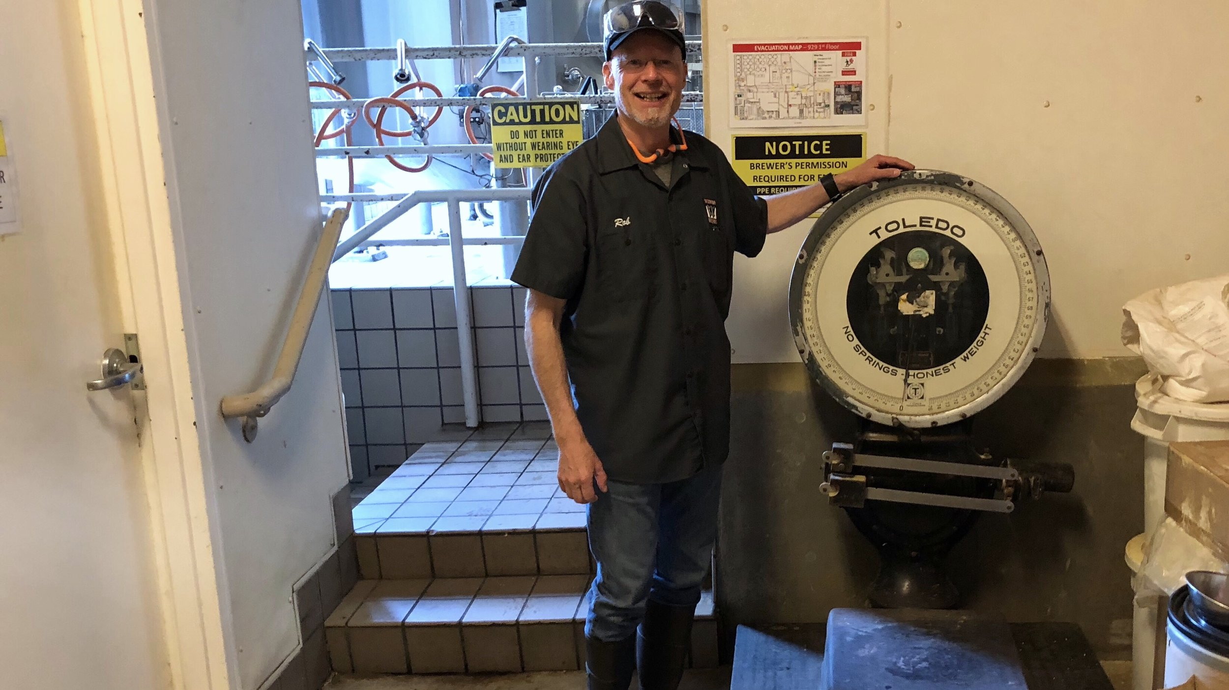 Rob Widmer with an original piece of Widmer Brothers equipment. (I completed the manuscript for The Widmer Way in January.)