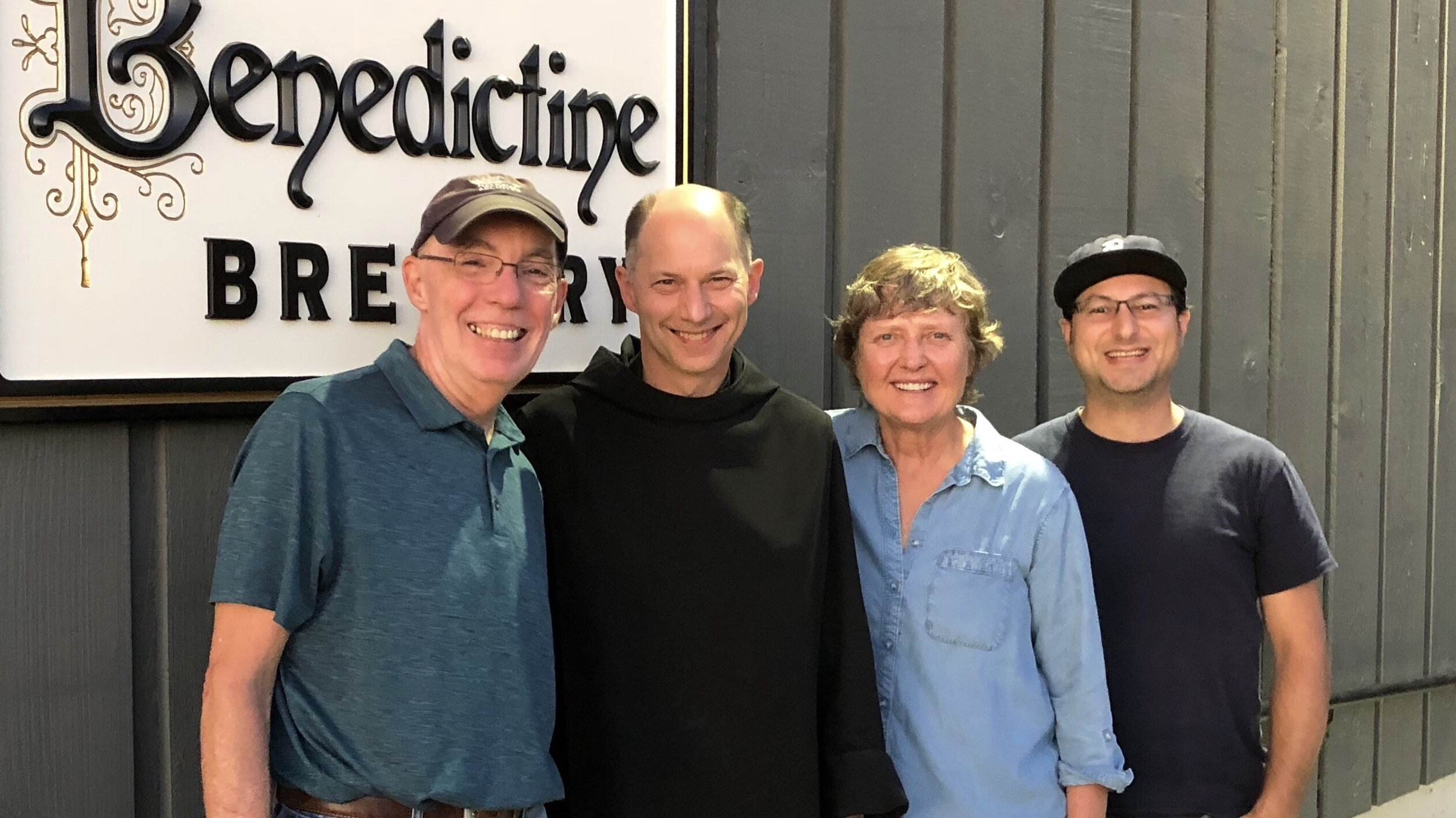 Visitkng Benedictine Brewery for the first time with (l-r) Stan Hieronymus, Father Martin, Gayle Goachie, and Alex Ganum.