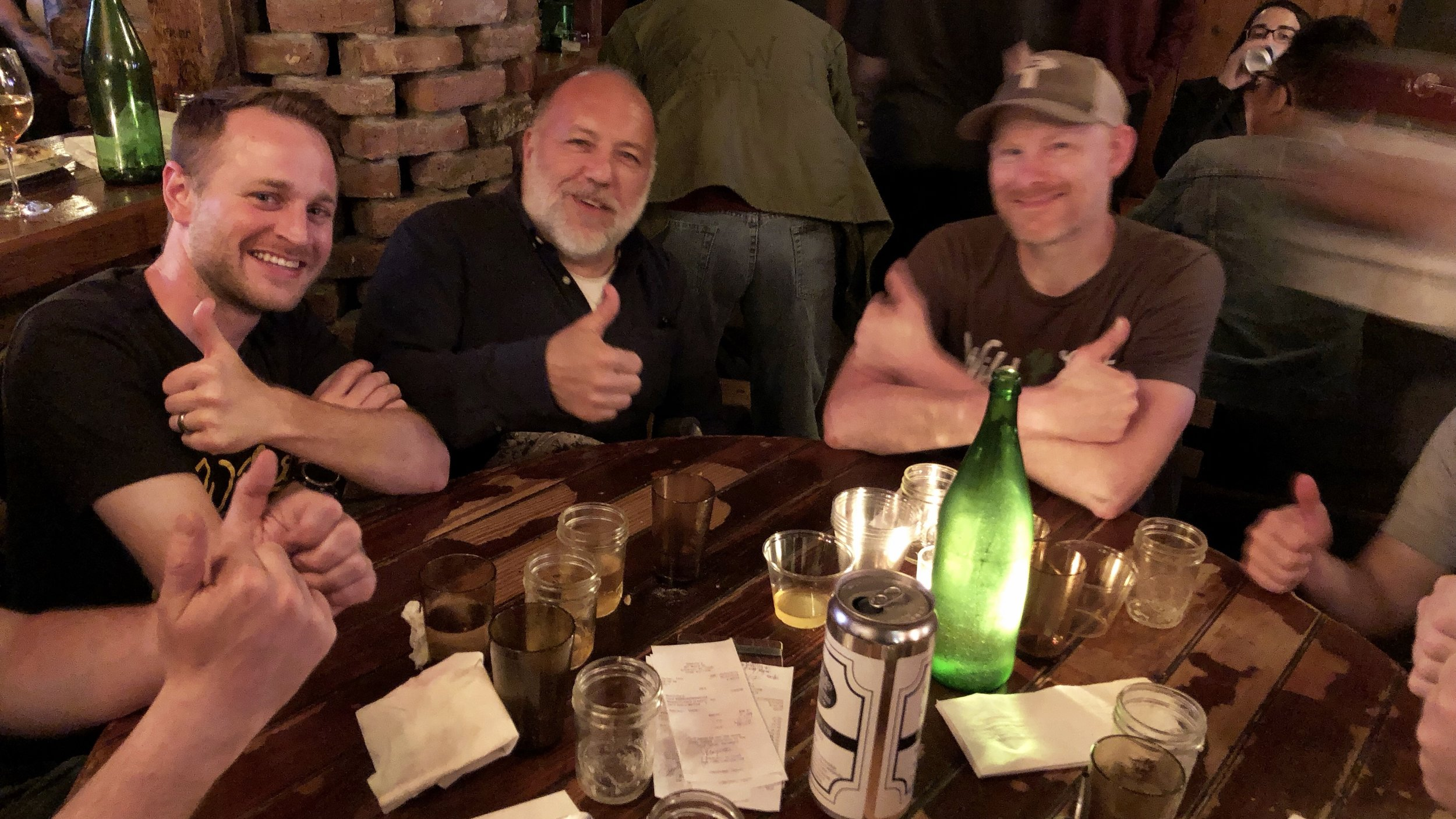 A fave stop when I hit NY is Jimmy Carbone's show Beer Sessions Radio. That's him in the middle flanked by Steven Hallstone (left) and Brett Taylor, who's working at Fifth Hammer now while opening his own brewery Wild East. You can listen to podcasts   here  ; my stop will air next week.