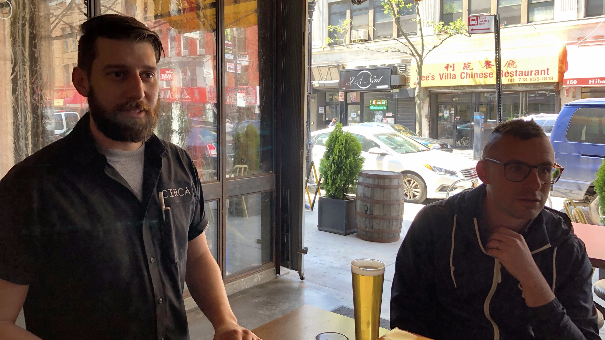 Here is Josh Bernstein (right), the hardest-working man in beer writing, along with Circa brewer Drew Kostic. (Drew was a lawyer for seven years before exchanging the wingtips for rubber boots.)