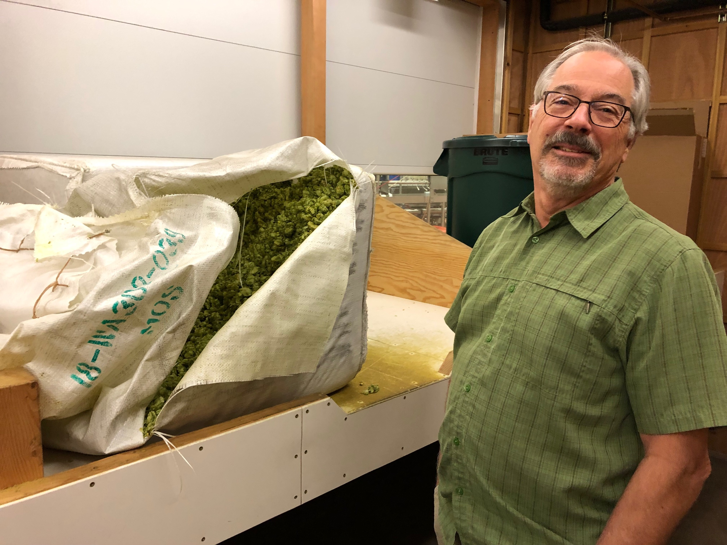 Larry Sidor in his hop storage room at Crux.