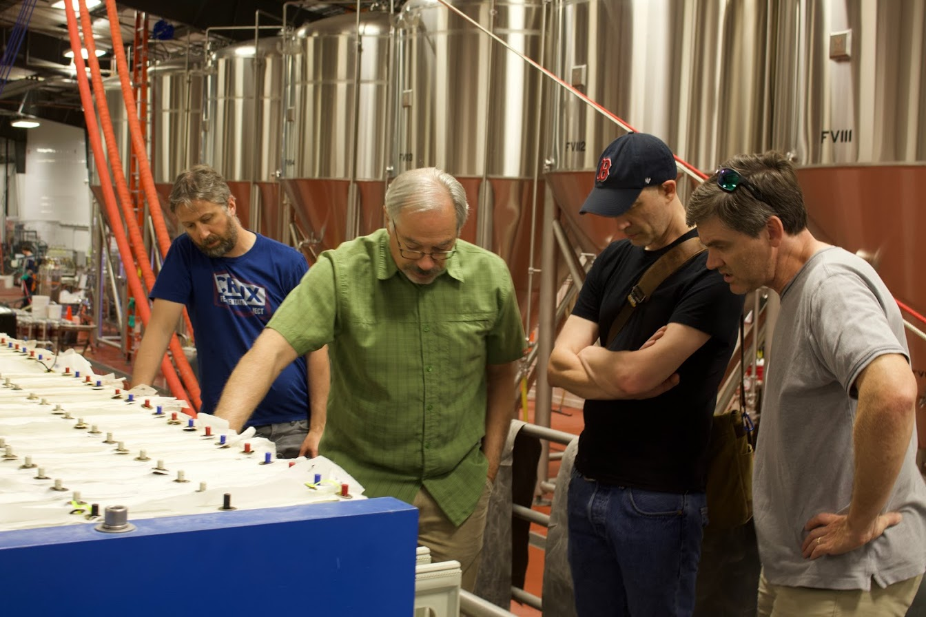 """Four Men Inspect a Mash Filter"" (Jason Randles, Larry Sidor, me, Patrick, l-r)"