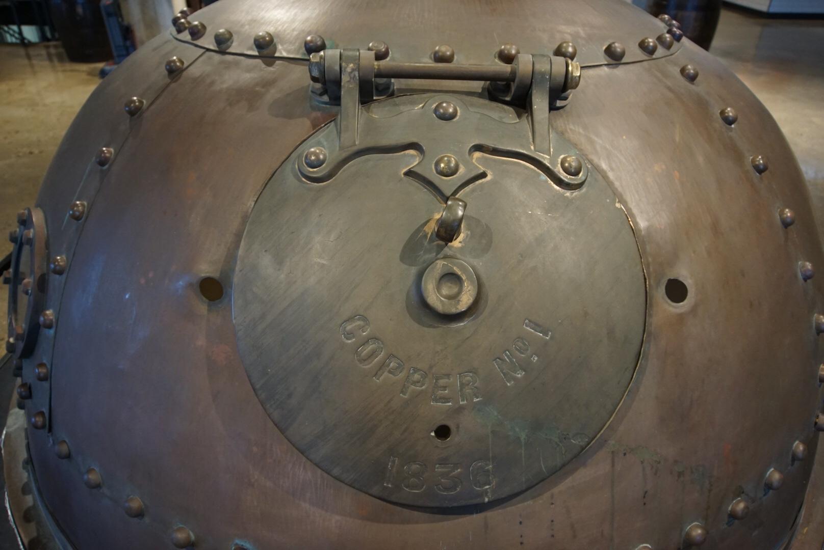 Original kettle on display.