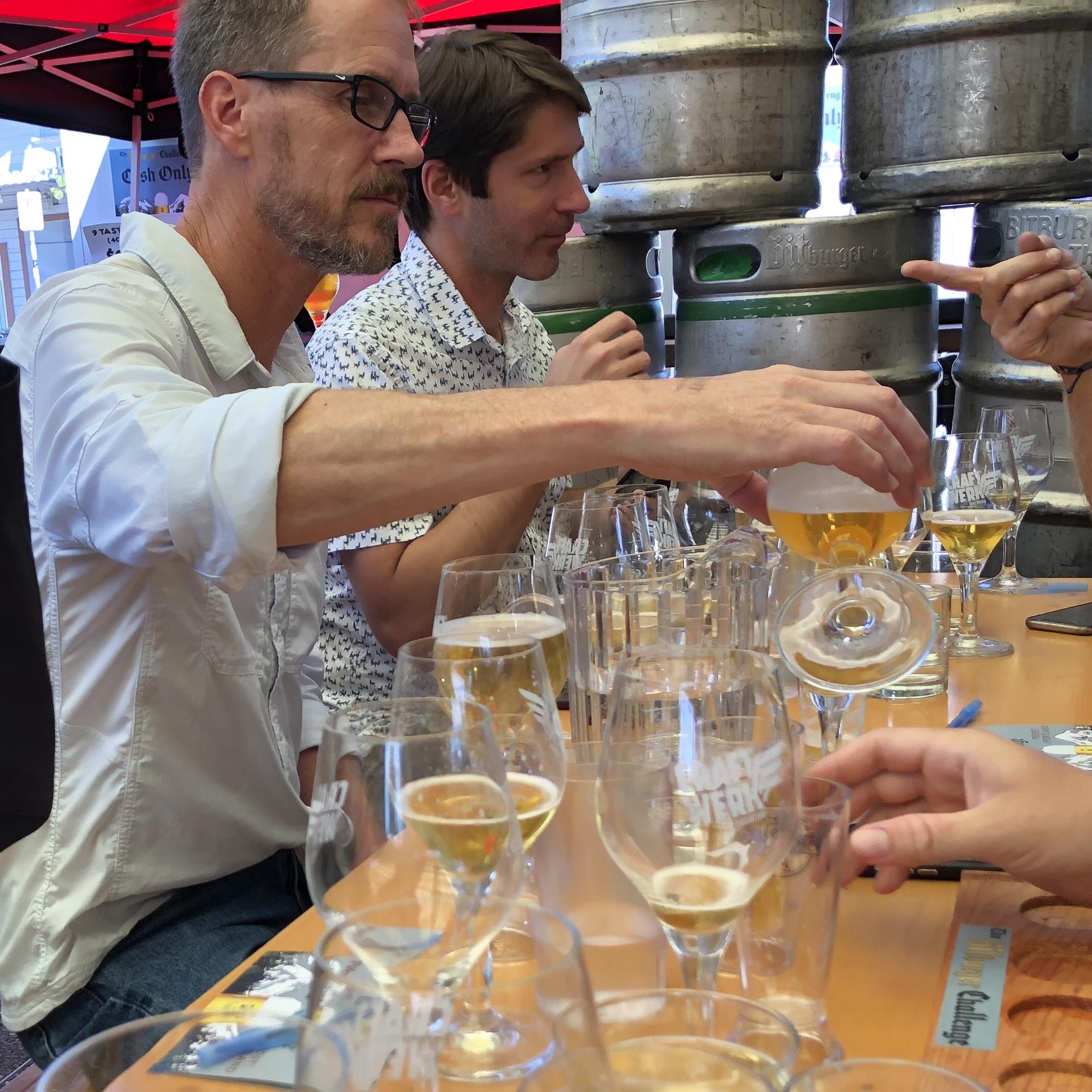 Tom Shellhammer (left) and Ben Keene judging beer.