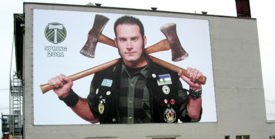 When the Portland Timbers debuted as an MLS club in 2011, they used their most avid fans in promotional material. Abram's billboard hung not far from where Cider Riot is now located.