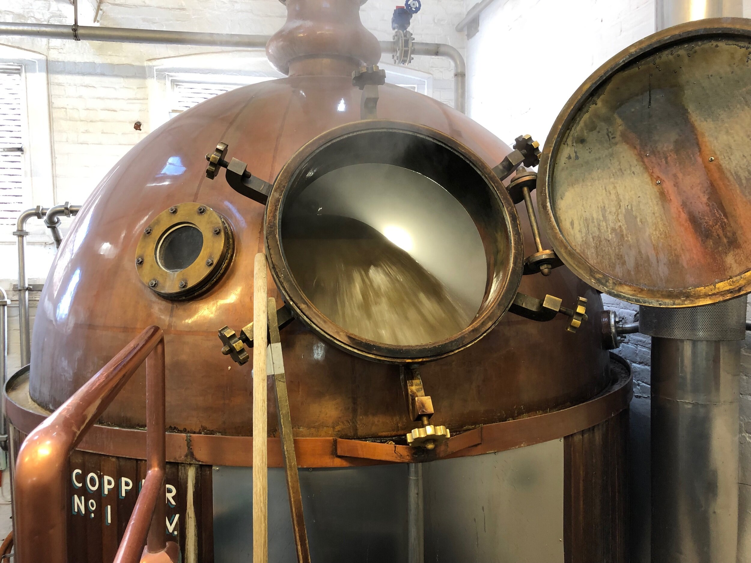 """The copper mid-boil. Believe it or not, this is a relatively recent piece of equipment. (In Britain, kettles are known as """"coppers."""")"""