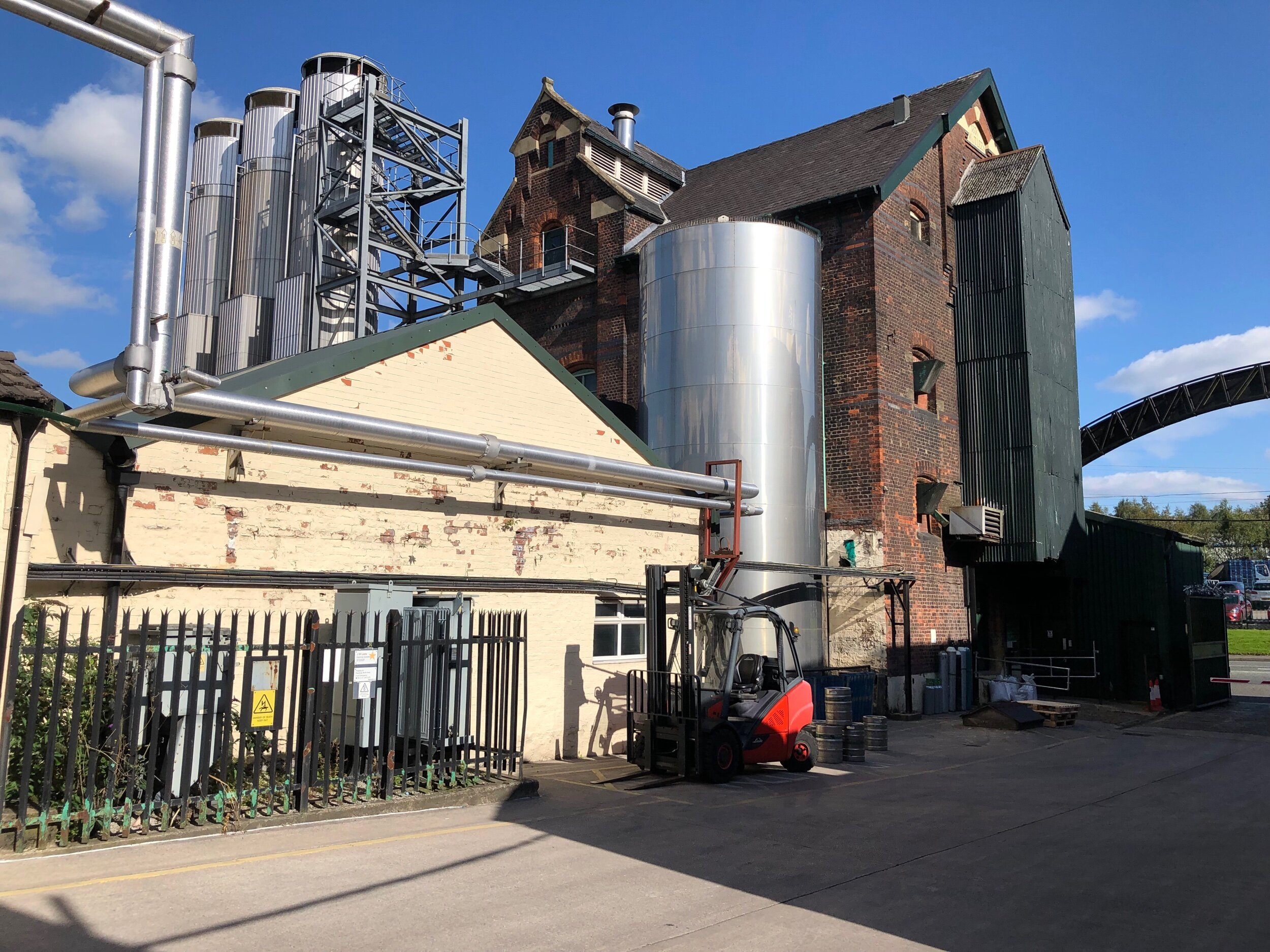 More brewery yard. Lees also contract brews for Carlsberg.