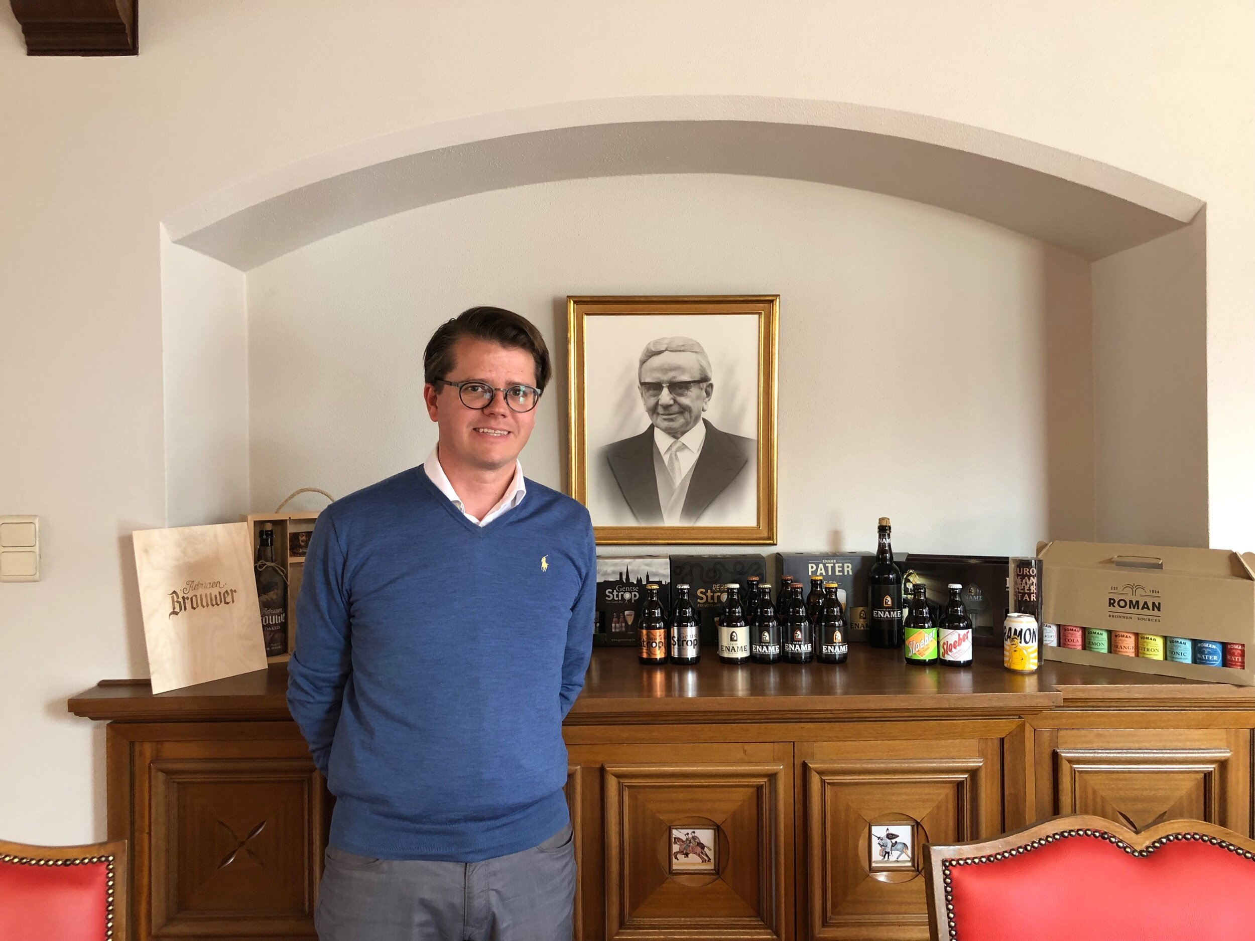 Lode Roman, a member of 14th generation the family can trace back, and the third generation since his grandfather, pictured behind him, built the brewery.