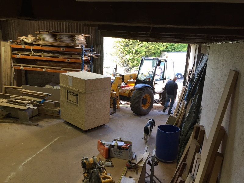 CNC crate being picked up.
