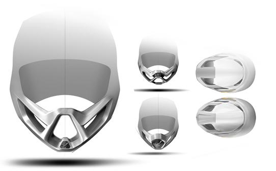 Le casque Full Face comme produit signature pour la marque - La phase 2D a permis de tester différentes solutions formelles afin d'implémenter et d'appliquer la signature de la marque Cébé, avec son isotype en forme de tripod. Une forme favorisant la ventilation, mais aussi singulière et facilement reconnaissable.