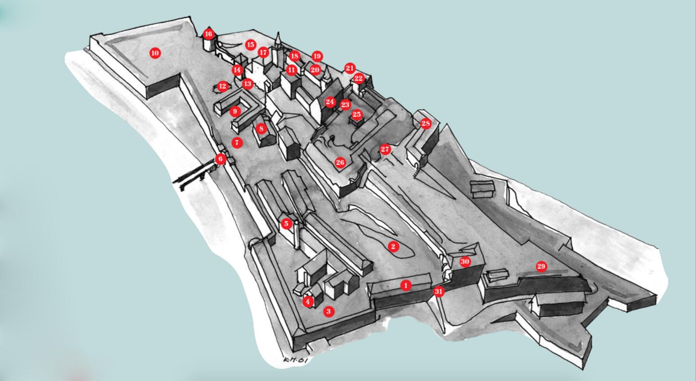 Illustrasjon av festningsløypa på Akershus festning: Forsvarsbygg