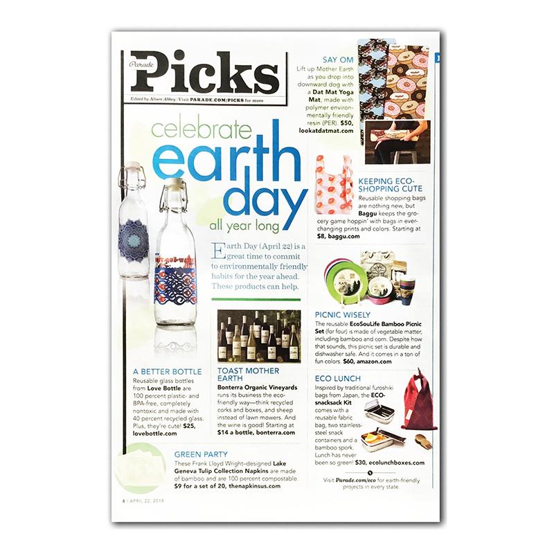 Love Bottle featured in Parade Magazine, Sunday's paper newsmagazine