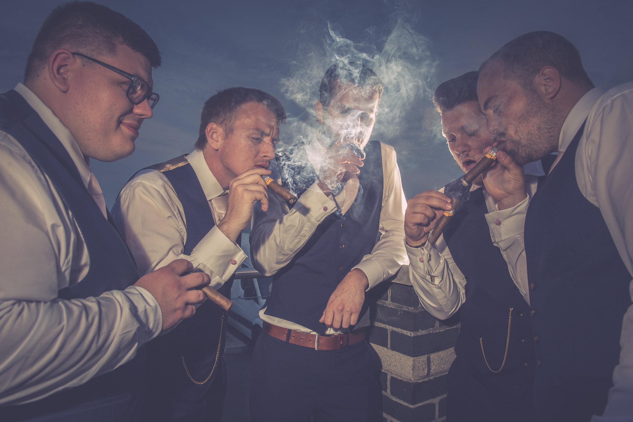groomsmen cigar smoke