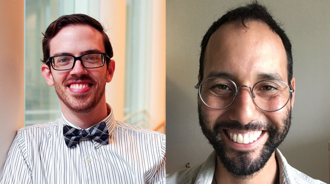 Left: Evan Meszaros,  Research Services Librarian   Right: Mark Clemente,  Scholarly Communications Librarian