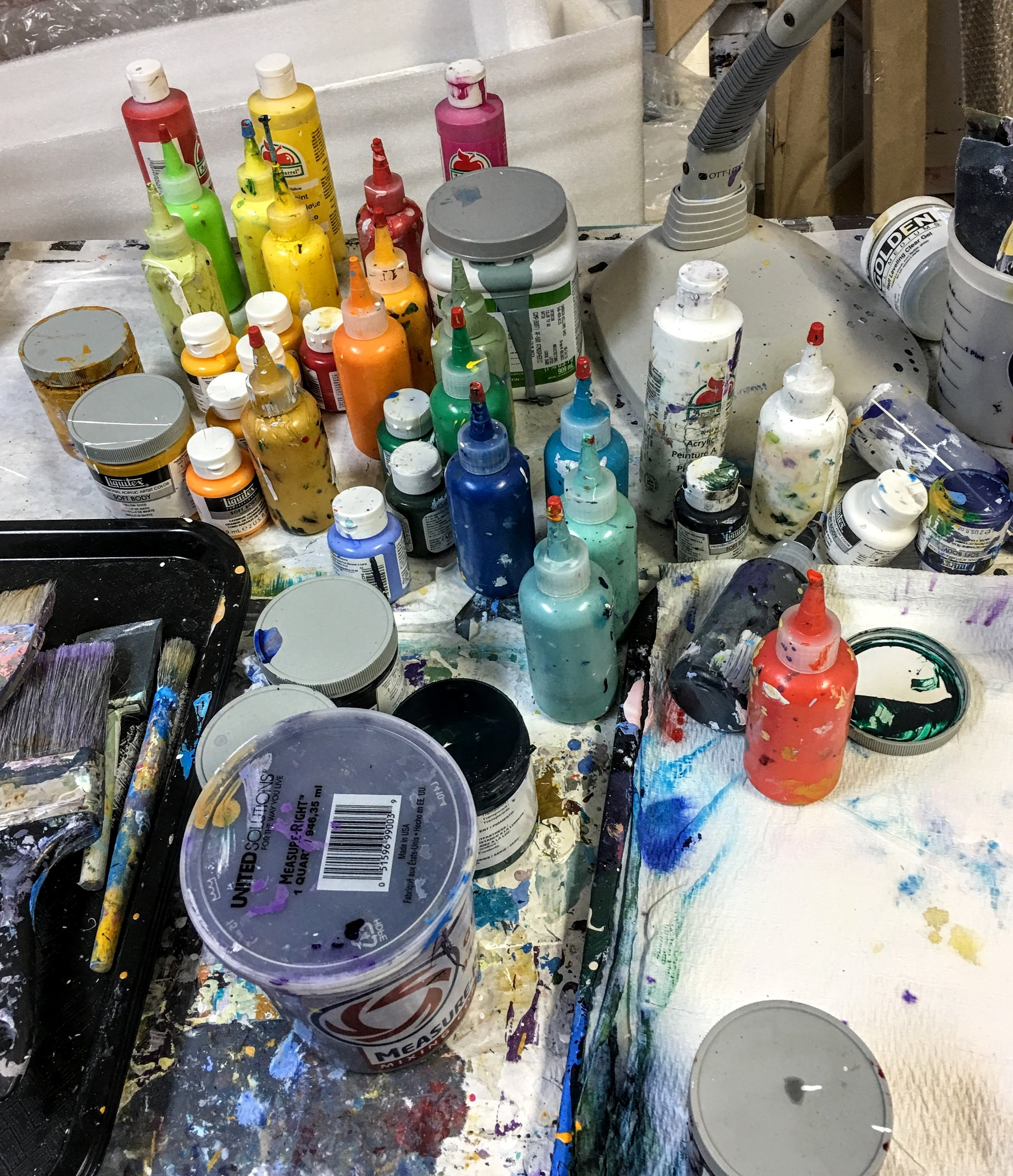Acrylic paints and utensils...as I left them.