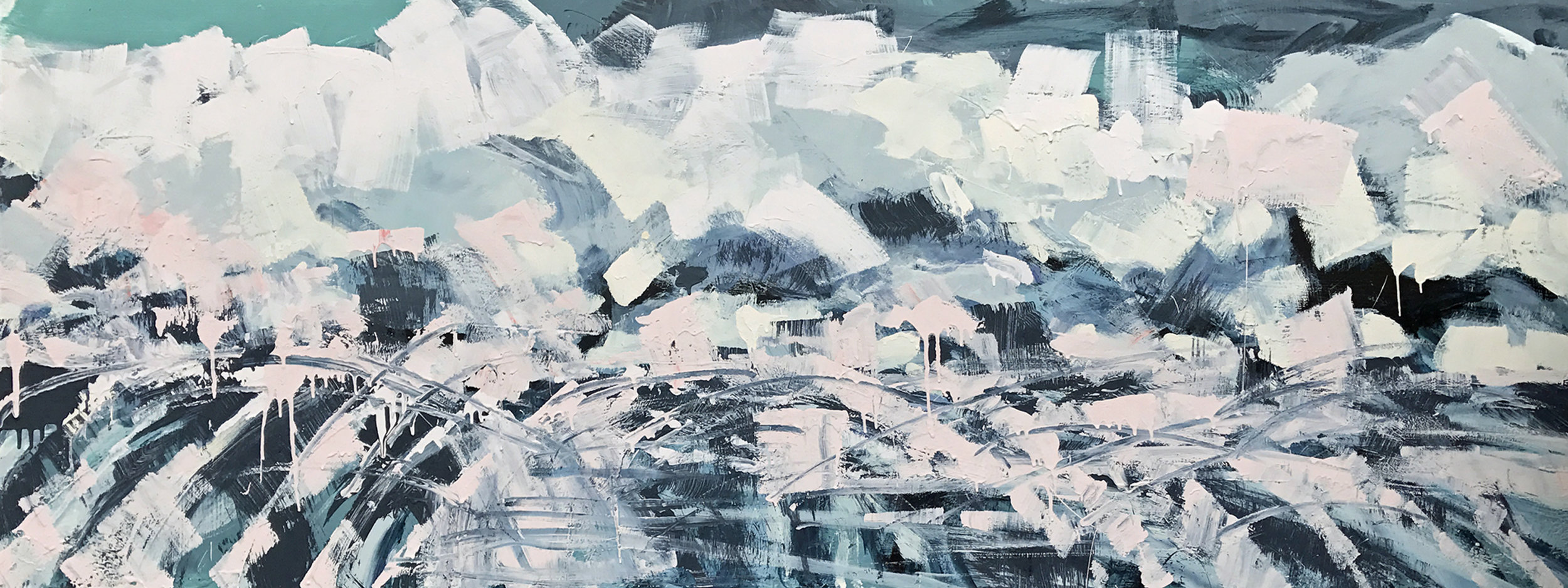 """Winter Is Coming   by Sally Veach  ,  Acrylic on Wood Panel, 30"""" X 80"""", on view at Muse Vineyards May 13-June 11, 2017."""