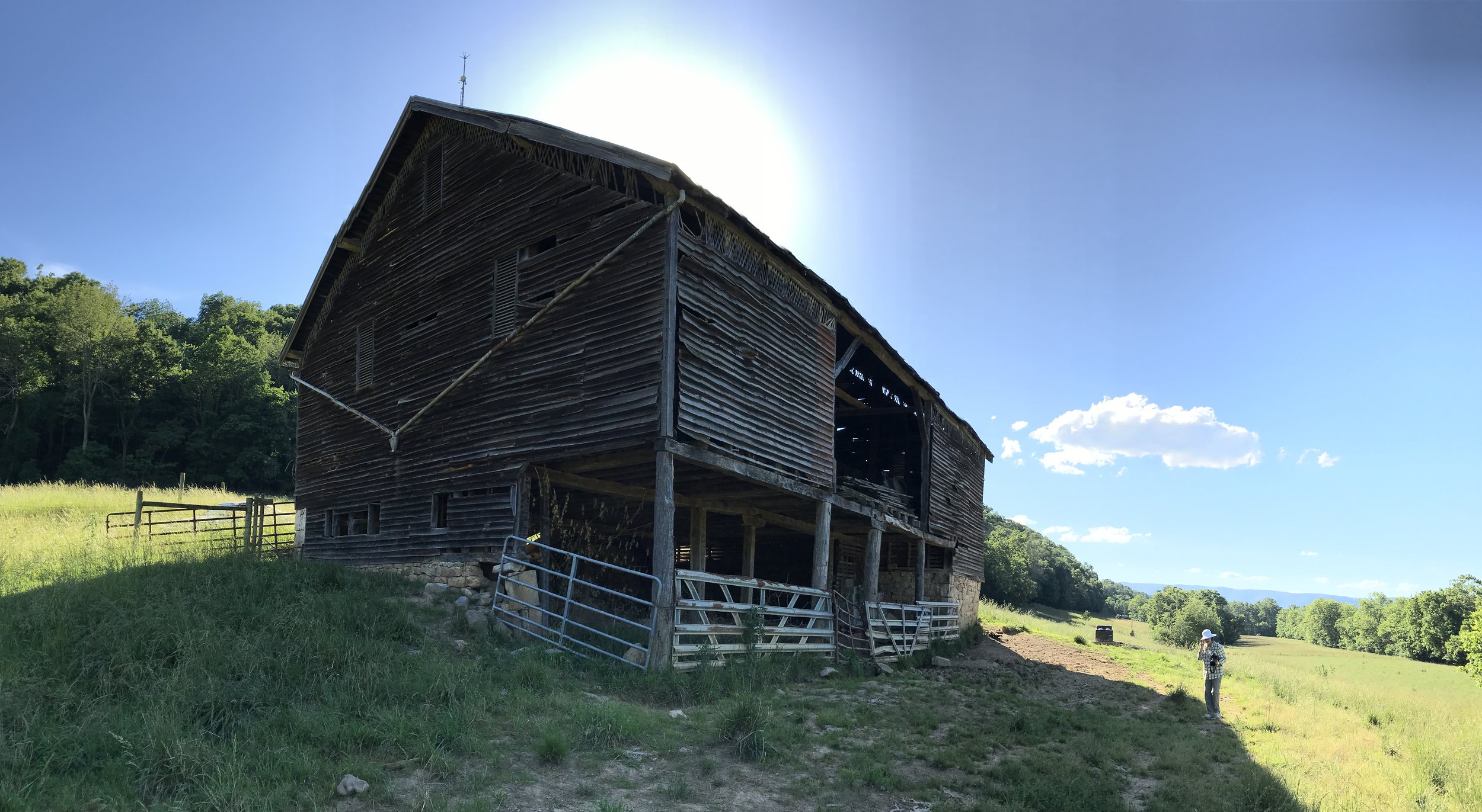 A deteriorating bank barn in Shenandoah County, VA.