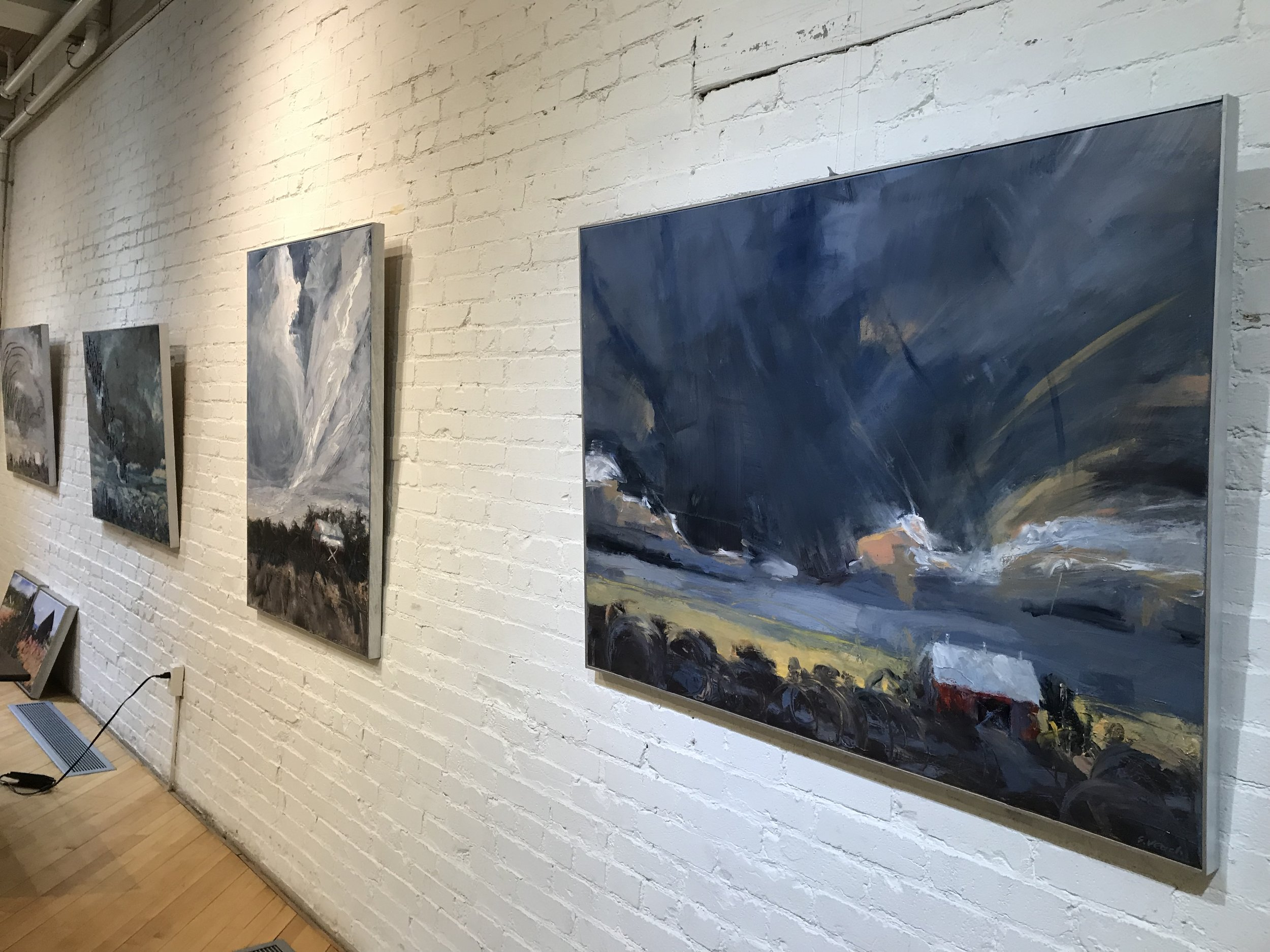 Sally Veach's Barns of Shenandoah exhibit at The Delaplaine