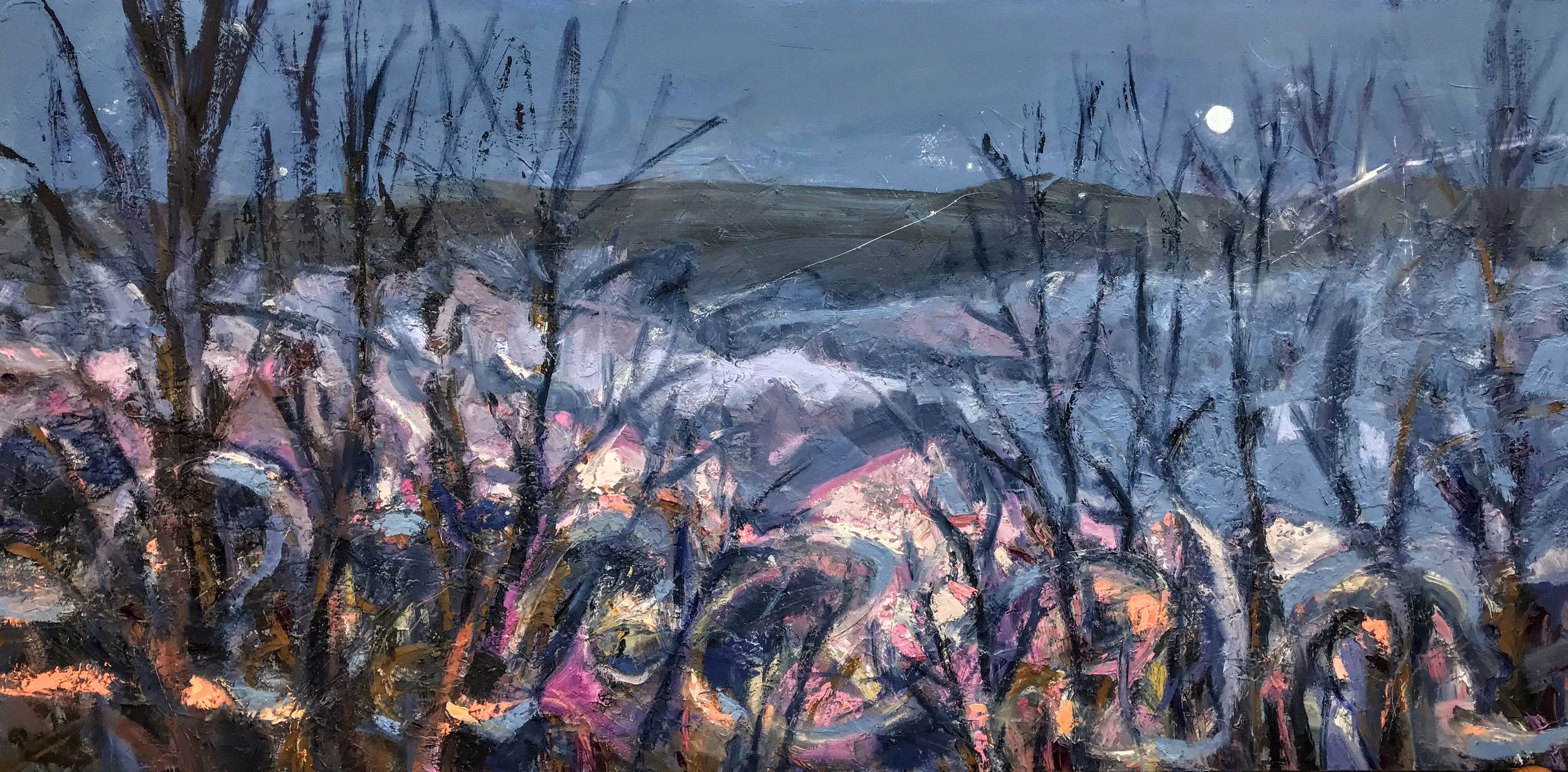 """Night of the Shenandoah, Oil on Canvas, 36"""" X 72"""""""