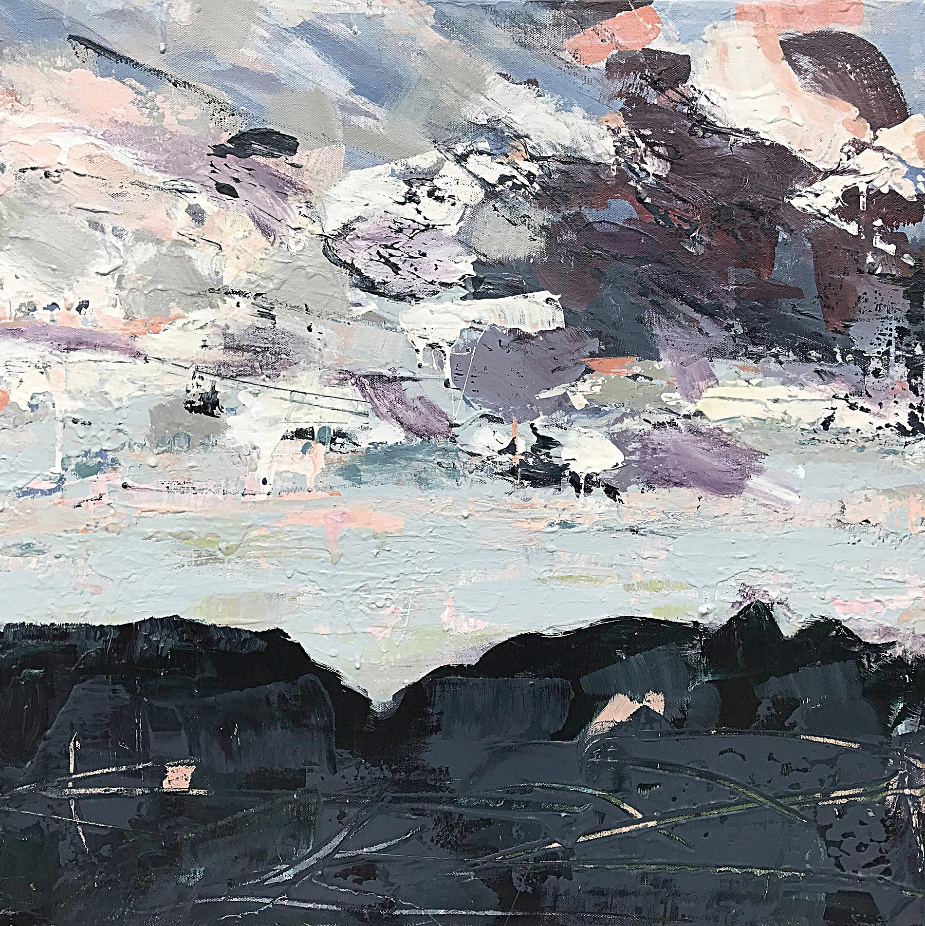 """Edinburg Gap , Acrylic on Canvas, 24' x 24"""", includes silver leaf frame, $1100"""