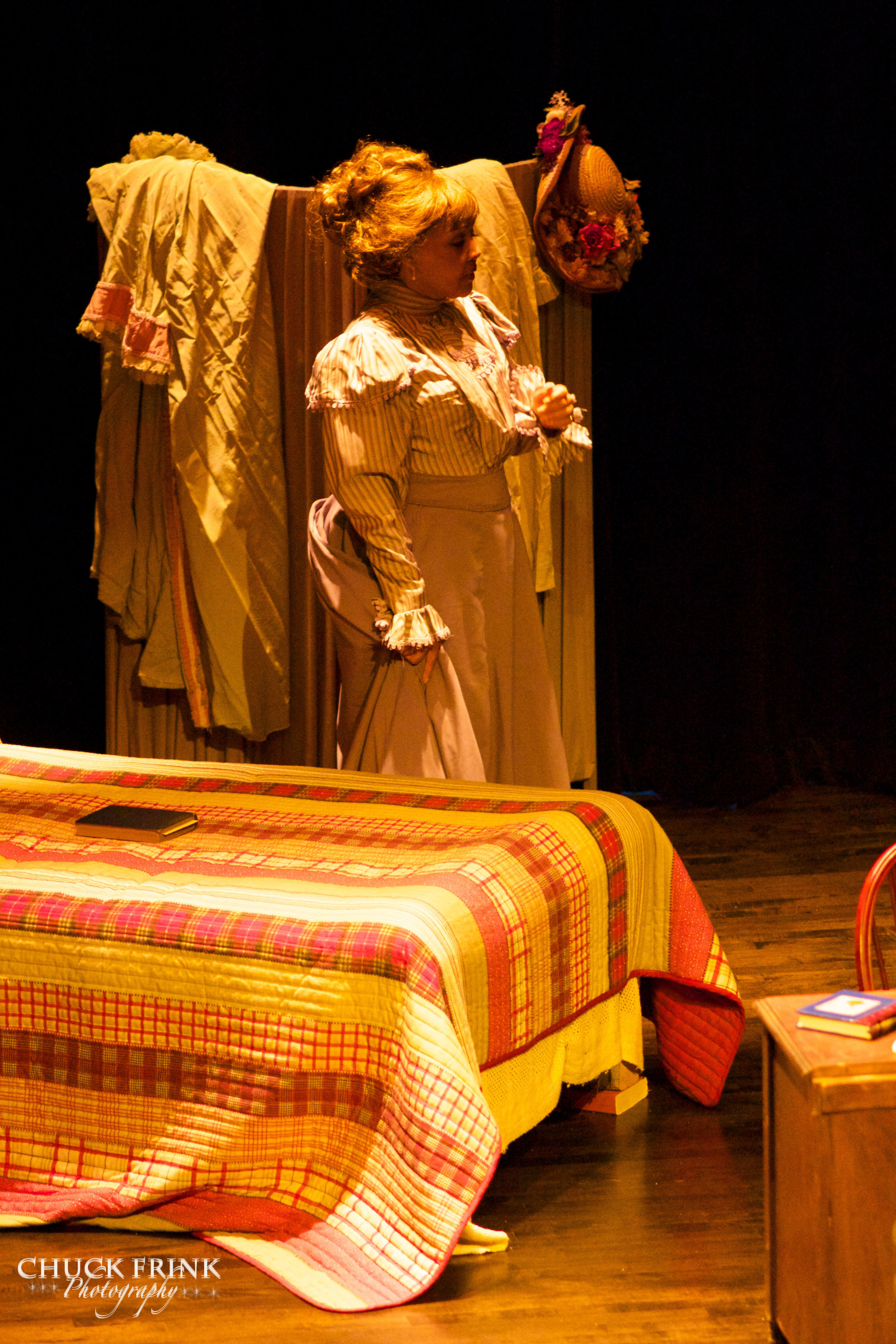 """""""I Could Learn to Love Him""""   Lisa Edwards-Burrs as Alice Ruth Moore  """"The Poet"""",  Scene 15 Paul Lawrence Dunbar High School, 2014."""