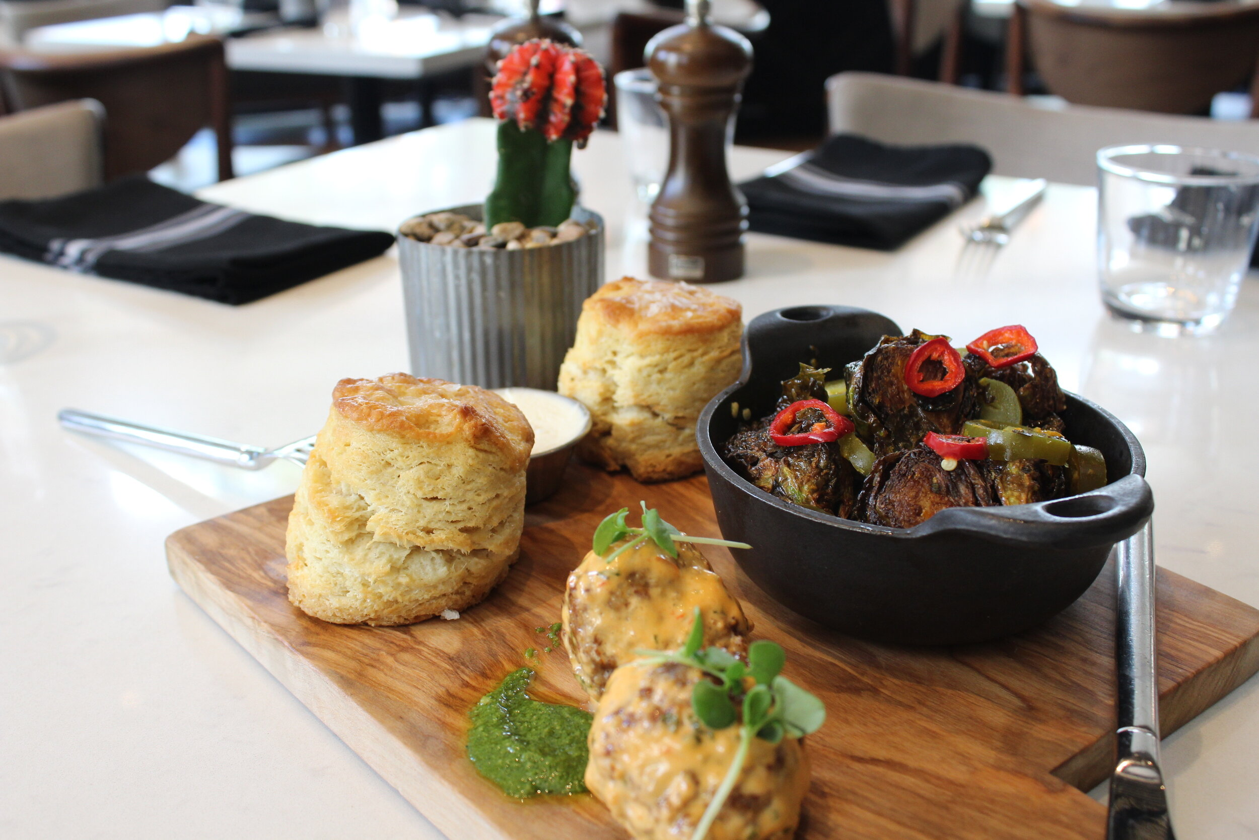 #16 biscuits, brussels and our lamb meatballs