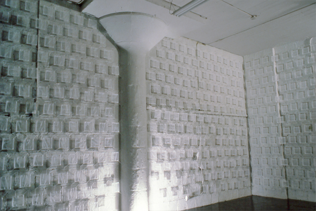 """Untitled. Cloth, Nails. Each square 12"""" x 12"""". One wall was 50' L x 12""""h, the other 12' L x 12""""h"""