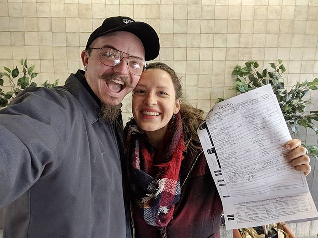 We got our fishing license! Uh, I mean wedding license!