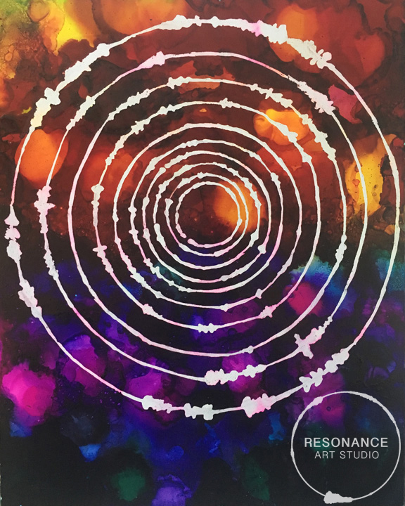 """""""Deep Centering"""" was made with sound waves from a guided meditation. I love how the sound waves show the periods of stillness and silence during a meditation. The colours deepening as the mind settles in."""