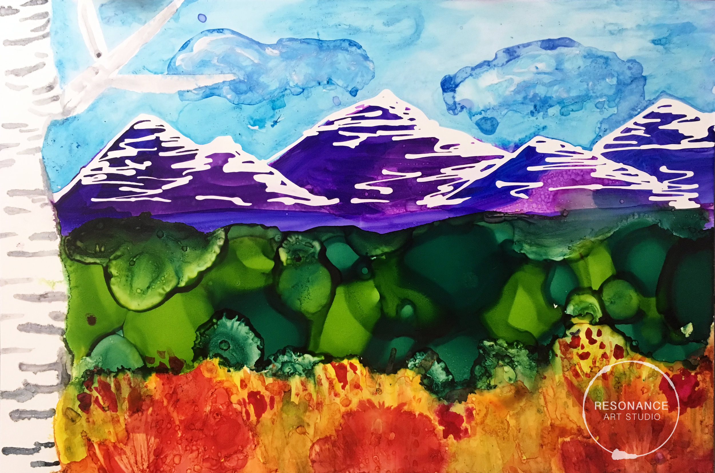 alcohol ink landscape