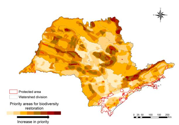 Figure S4.2.  BIOTA/FAPESP map of priority areas for biodiversity restoration in the State of São Paulo, Brazil (from Rodrigues  et al.  2008)