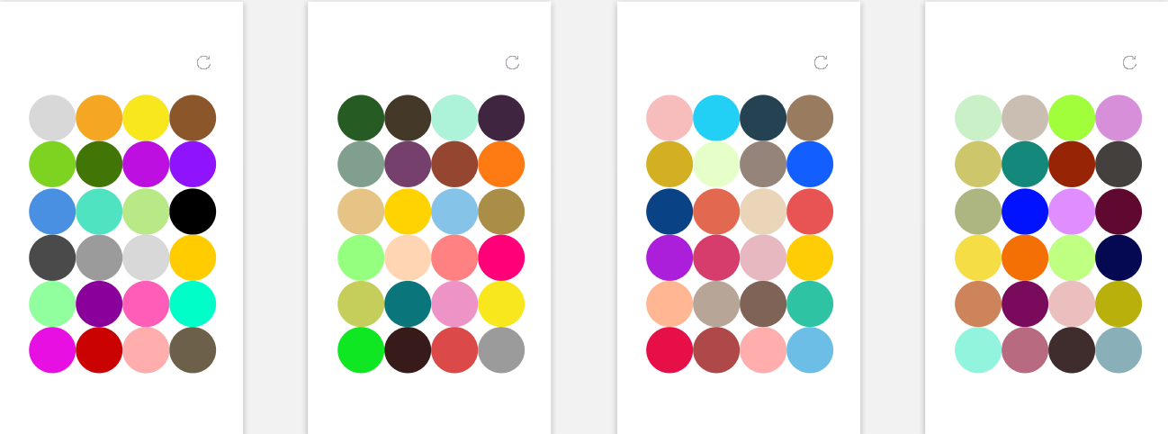 These are various sets of colors that may appear. They are a balanced mix of warm and cool tones to give no bias during the choice. The refresh button is at the top right.