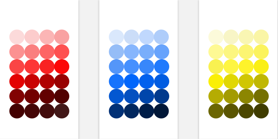 These are other color examples. As well, to show the button effect. There are 3 various options for what would happen when a user click the color circle.