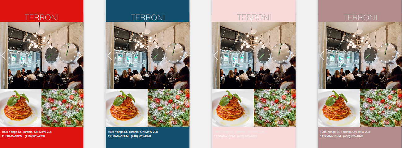 This is the final screen. Based on a color, it will help you select a restaurant. It is simply displayed: name, location, number, and photos to help users decide.