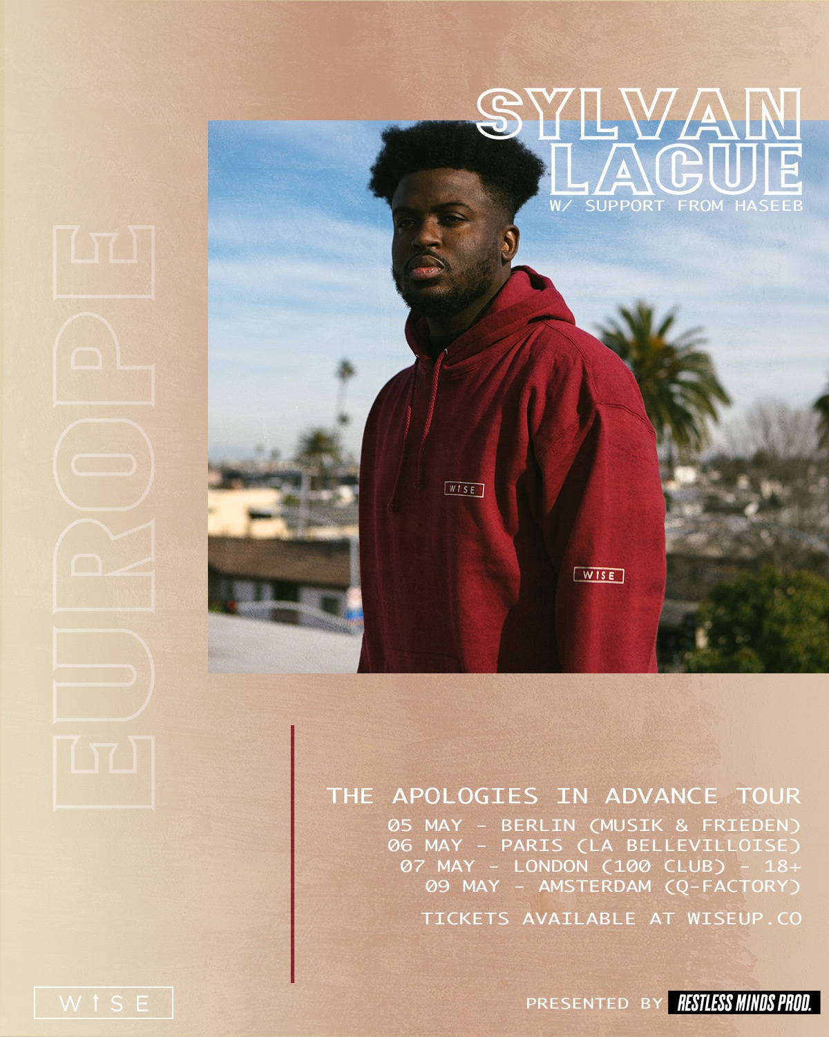 HASEEB on tour with Sylvan LaCue in Europe, May 2019. Click for tickets.