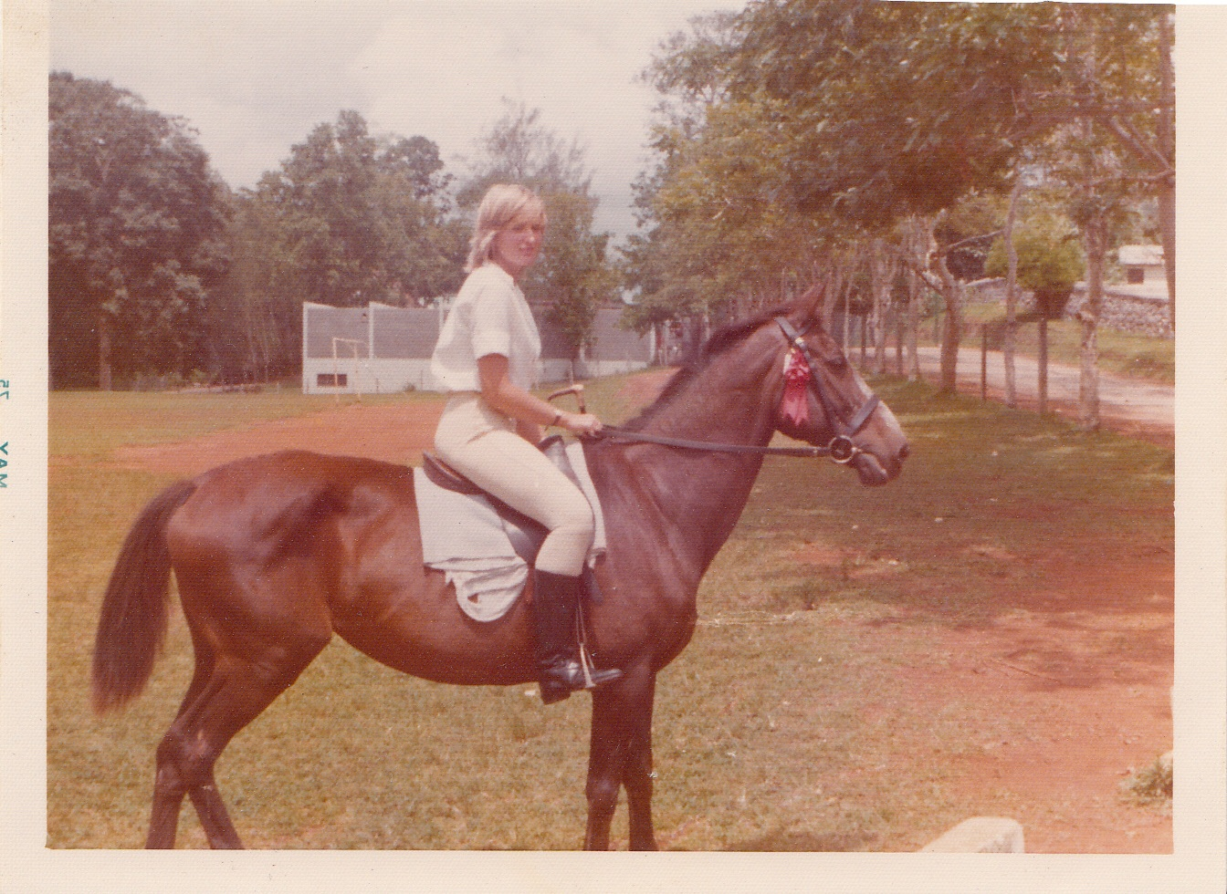 This is me at 14 with my first horse Lady in 1975 at my first horse show.  She was an Anglo Arab and was about 25 at the time. I had just taken my hat off and won my first Equitation class.  Memories!  And no trailering, I had to ride her to the show and then home at the end of the day, about an hour and half ride through the town of Mandeville, and home on back roads.