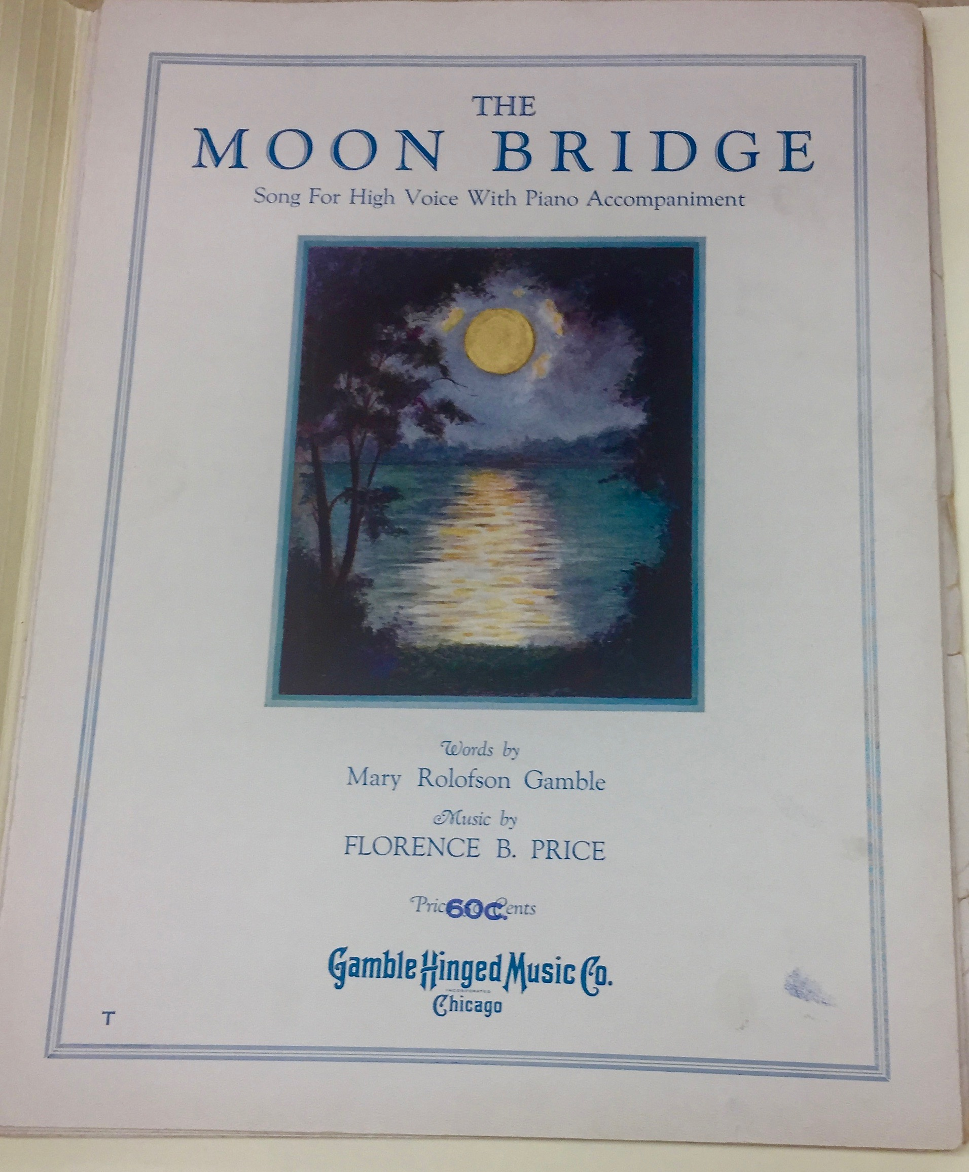 """The Moon Bridge"" (1930) - music by Florence Price, words by Mary Rolofson Gamble. Florence Price Addendum, University of Arkansas at Fayetteville"