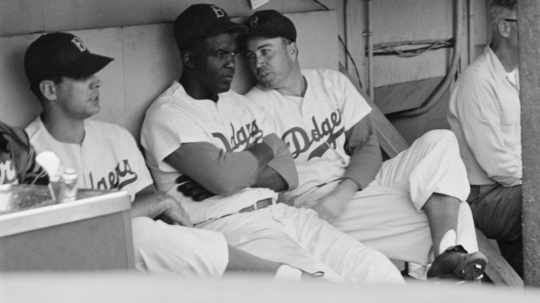 Jackie Robinson w/ Dodgers teammates, 1953. Museum of the City of New York