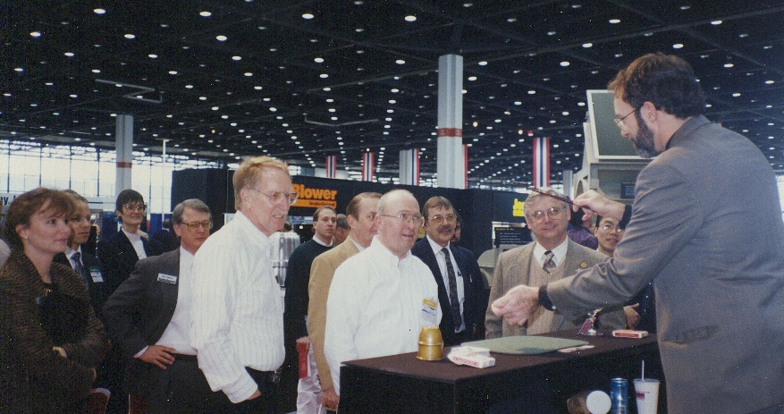 """Hondo draws a crowd on behalf of exhibitor Snyder General at the ASHRAE Show in Chicago's McCormick Place. Magic helps """"shorten the day"""" during long exhibit hours, and takes minds off of tired legs."""