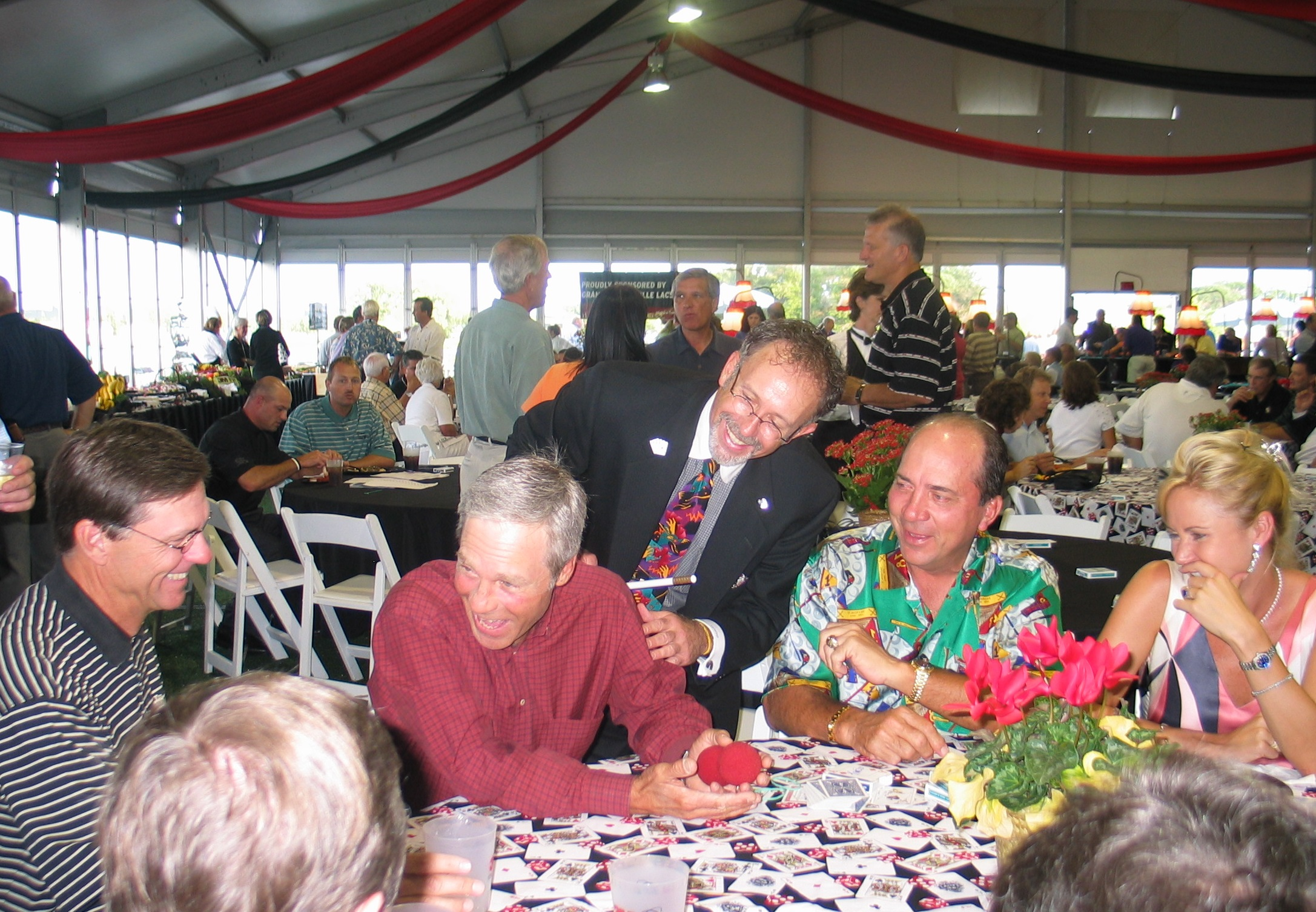 3M Championship Pro-Am Draw Party with Champions Tour golfers from left: Bill Rogers, Ben Crenshaw and baseball legend Johnny Bench. Hondo annually entertains at the Pro-AM Party and VIP Sponsor / Players party held at the home of tournament director Hollis Cavner.