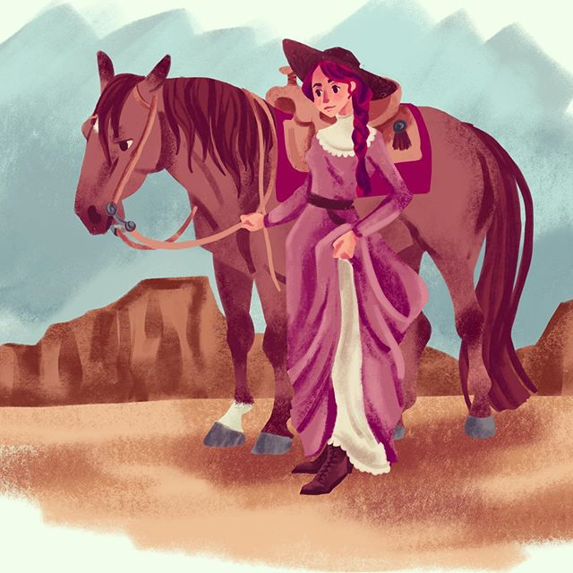 The woman of the wild Wild West. #wildwest #cowgirl #procreate #gouachemaxpack