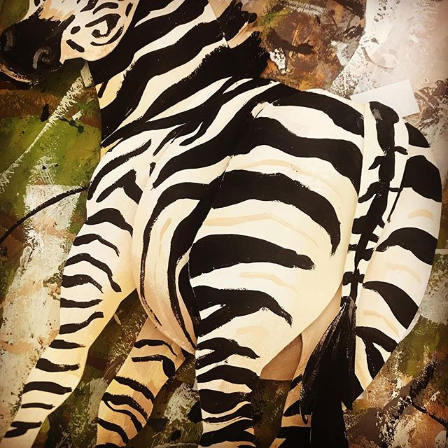 Monday's are a real pain in the butt aren't they. #papercut #gouache #zebra