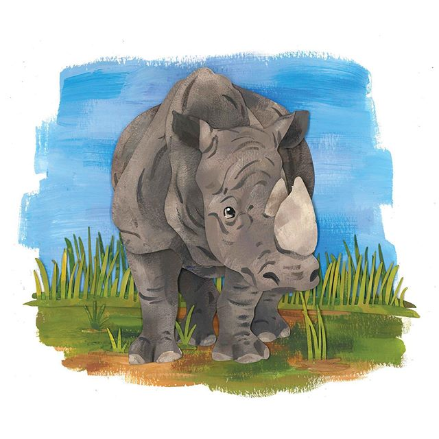 Did you know the name Rhinoceros means 'big nose' and it is shorten to rhino. #rhino #animal #papercutart #gouache