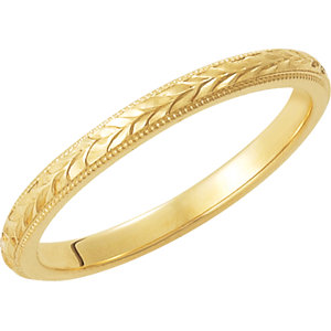 Engraved Leaf Motif Band