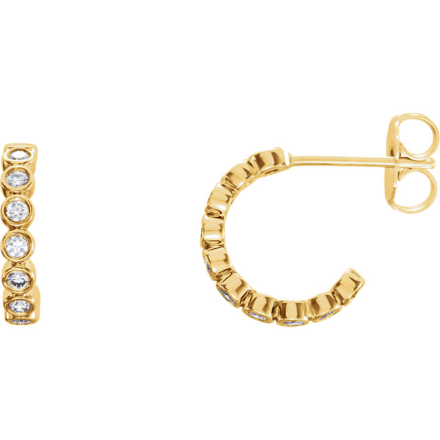 Bezel-set Diamond Hoops