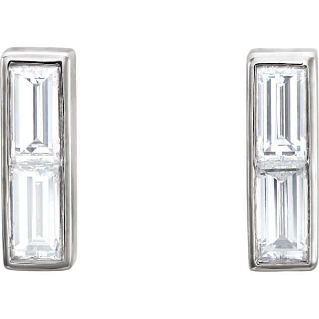Baguette Diamond Bar Earrings
