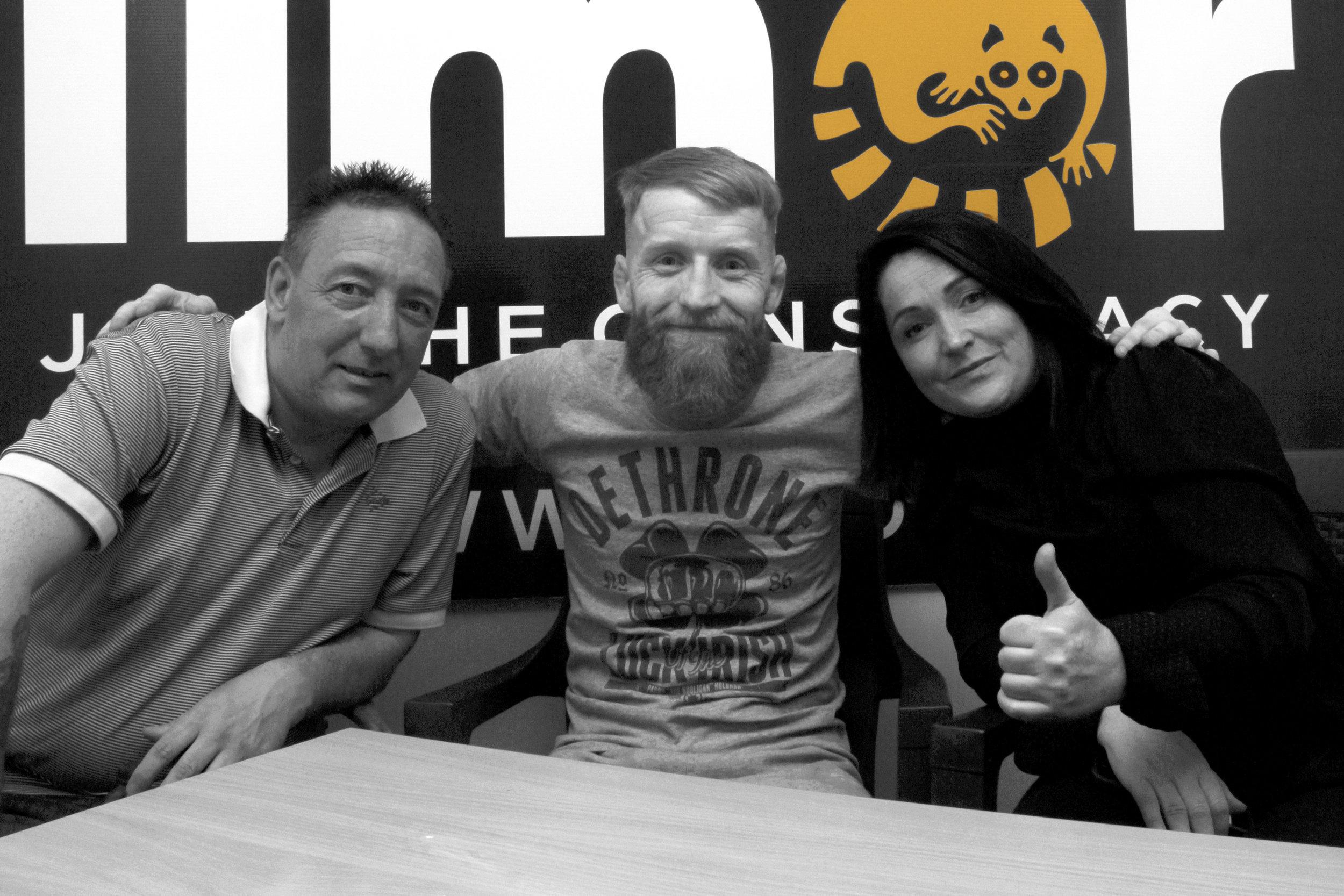 Mick Banks , Paddy Holohan and Sandra Fay