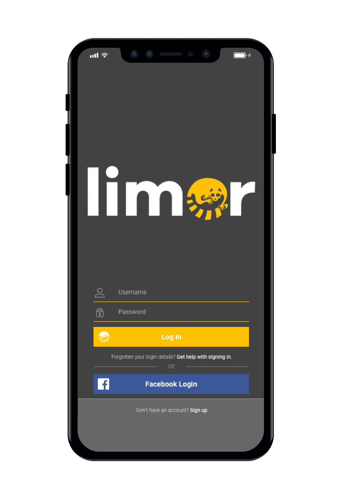 2. Sign up or login - If you have just downloaded the Limor App hit the 'sign-up' button at the bottom of the screen to create a new account.Existing users can login using their facebook login details or their Limor account username and password credentials.