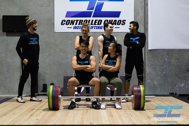 Caption this! . @joshua_ward77 @yind.eh @moolooney @omarrebaid @conormac.04 @mac.helena . #controlledchaos #chaosathlete #teamchaos #comp #olympicweightlifting #weightlifting #training #pr #pb #lifting #heavy #snatch #clean #jerk #squat #squats #strong #strength #fun #team #gym #coburg #melbourne #gym #train #power #competition